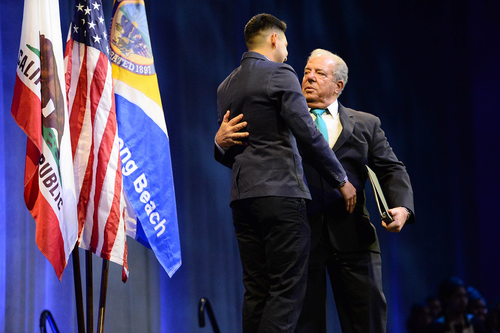 . Mayor Foster is introduced by Long Beach resident Oscar Garcia at his last State of the City annual address at the Pacific Ballroom at the Long Beach Arena in Long Beach, CA. on Tuesday, January 14, 2014. (Photo by Sean Hiller/ Daily Breeze).