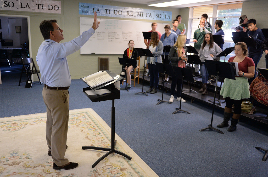 . Michael Hayden is a music teacher at Mira Costa High School. He had been selected as California Teacher of the Year. Choir rehearsal room.  (Mon. Nov. 4, 2013 Photo by Brad Graverson/The Daily Breeze)