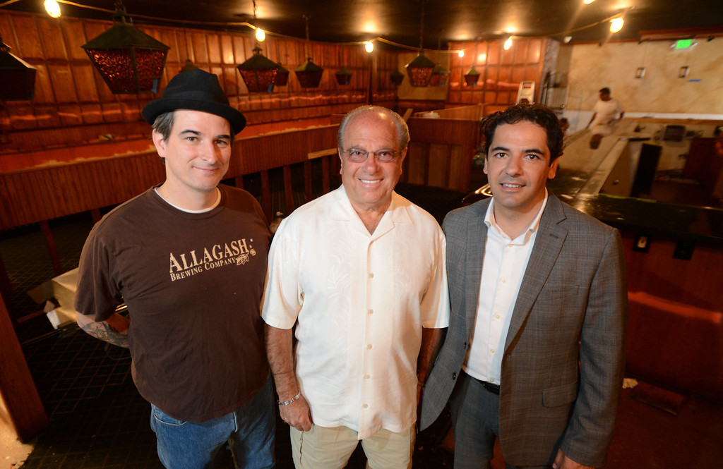 """. Long Beach, Calif., -- 08-29-13-  From left to right  Executive Chef David Coleman, Long Beach restaurateur Michael Dene,  owner of Michael\'s of Naples Restoranate and Michael\'s Pizzeria and general manager Massimo Aronne plan to open an Italian steakhouse called \"""" Chianina, \"""" at the old Kelly\'s of Naples location, 5716 E 2nd St. They hope to open in December.    Stephen Carr/  Los Angeles Newspaper Group"""