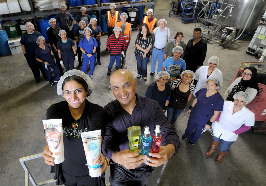 . Sofia Shehzad and husband Jim Ajmal are the faces behind Valley of the Sun Cosmetics LLC, based in Gardena, which is among the small businesses and local Mom and Pop cosmetic outfits that are trying their hand at exporting their goods from their factory in Gardena, CA. on Thursday, November 6, 2013. (Photo by Sean Hiller/Press Telegram).