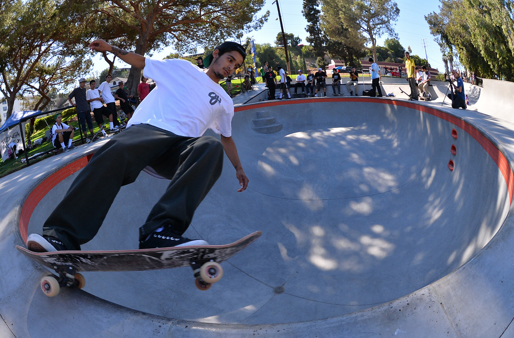 . Oscan Navarro of San Pedro. New San Pedro skatepark located in Peck Park along Western Ave. in SP. (Aug. 15 2014 Photo by Brad Graverson/The Daily Breeze)