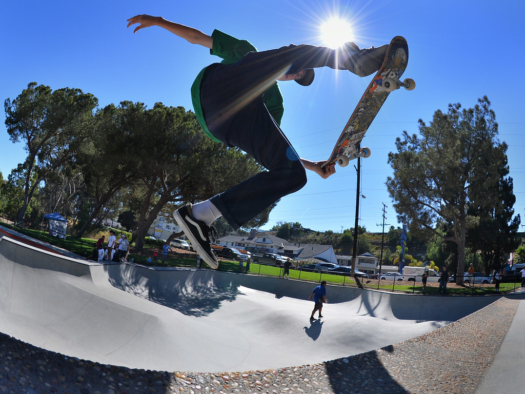 . Jordan Toledo of San Pedro gets some air at the new San Pedro skatepark located in Peck Park along Western Ave. in SP. (Aug. 15 2014 Photo by Brad Graverson/The Daily Breeze)