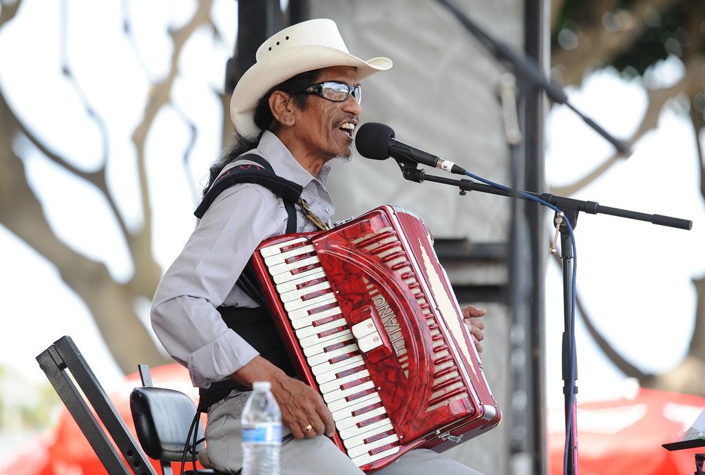 . Mark St. Mary Louisiana Blues and Zydeco band plays at the 28th Annual Long Beach Bayou Festival,  at Rainbow Lagoon Long Beach Calif.,  Saturday June 21,  2014.     (Photo by Stephen Carr / Daily Breeze)