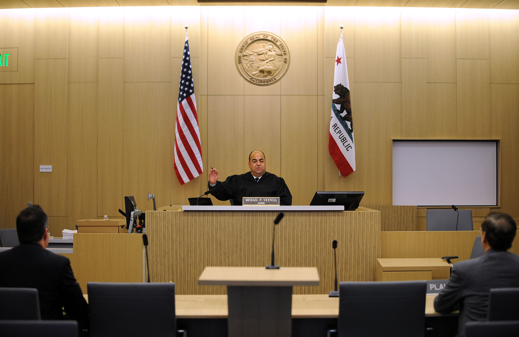 . Long Beach, Calif., -- 09-09-13- Inside the courtroom of Judge Michael Vicencia,center, on opening day for the new Governor George Deukmejian Courthouse in Long Beach.      Stephen Carr/  Press-Telegram