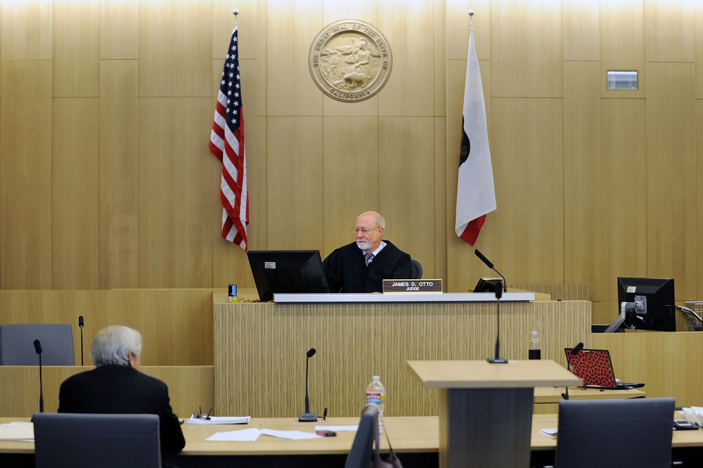 . Long Beach, Calif., -- 09-09-13- Inside the courtroom of Judge James Otto,center, on opening day for the new Governor George Deukmejian Courthouse in Long Beach.      Stephen Carr/  Press-Telegram