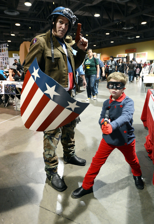 . Dressed as Captain America and Bucky,  Brian Sikoff, and his son Alexander,6, of Camarillo, Calif., The 5th annual Long Beach Comic Con & Horror Con, held at the Long Beach Convention Center.   Long Beach Calif., Saturday, November, 23, 2013.   (Photo by Stephen Carr / Daily Breeze)