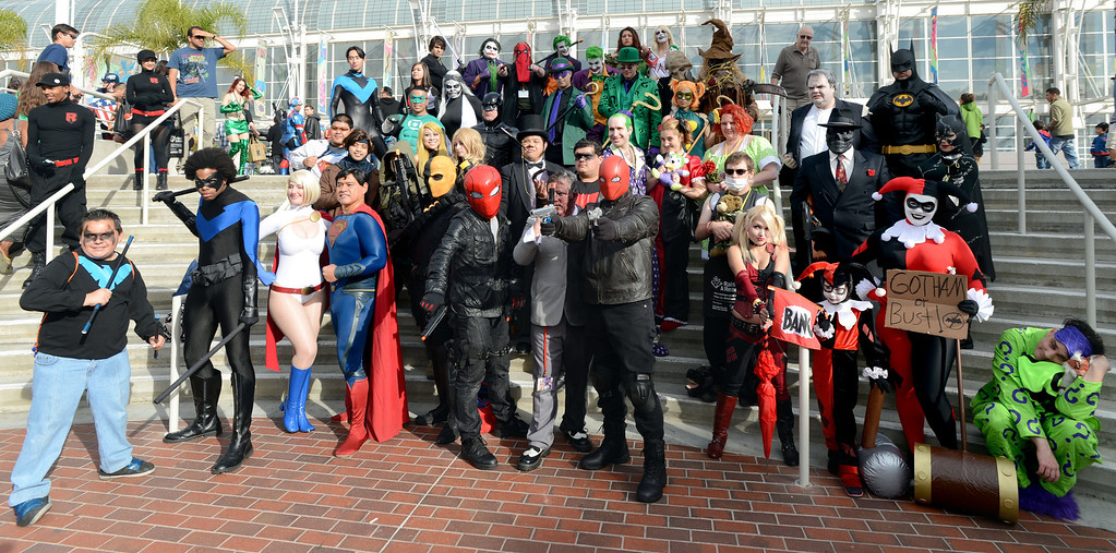 . DC Comic characters gather for a photos at the 5th annual Long Beach Comic Con & Horror Con, held at the Long Beach Convention Center.   Long Beach Calif., Saturday, November, 23, 2013.   (Photo by Stephen Carr / Daily Breeze)