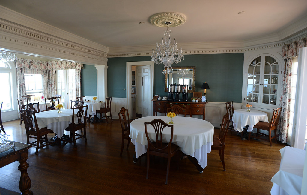 . Avalon, Calif., -- 09-04-13-  The dining room in The Inn On Mt. Ada, once the home of William Wrigley, Jr., who bought 99% of Catalina Island in 1919. The building was completed in 1921 sit 350 feet above the city of Avalon and is now an Inn. This year Avalon turns 100.    Stephen Carr/  Press-Telegram