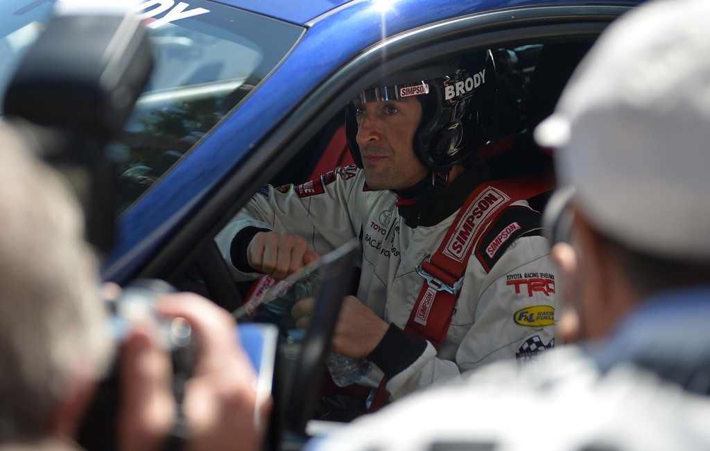 . Adrien Brody in his car for a practice session at the Toyota Grand Prix of Long Beach Pro/Celeb Race. Long Beach April 11, 2014. (Photo by Brittany Murray / Daily Breeze)