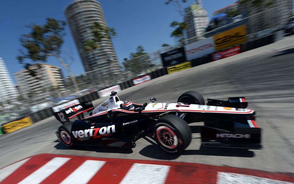 . Indycar driver Will Power drives through the hairpin Friday morning April 11, 2014 in the first practice session at the 40th Toyota Grand Prix of Long Beach.  (Will Lester/Inland Valley Daily Bulletin)