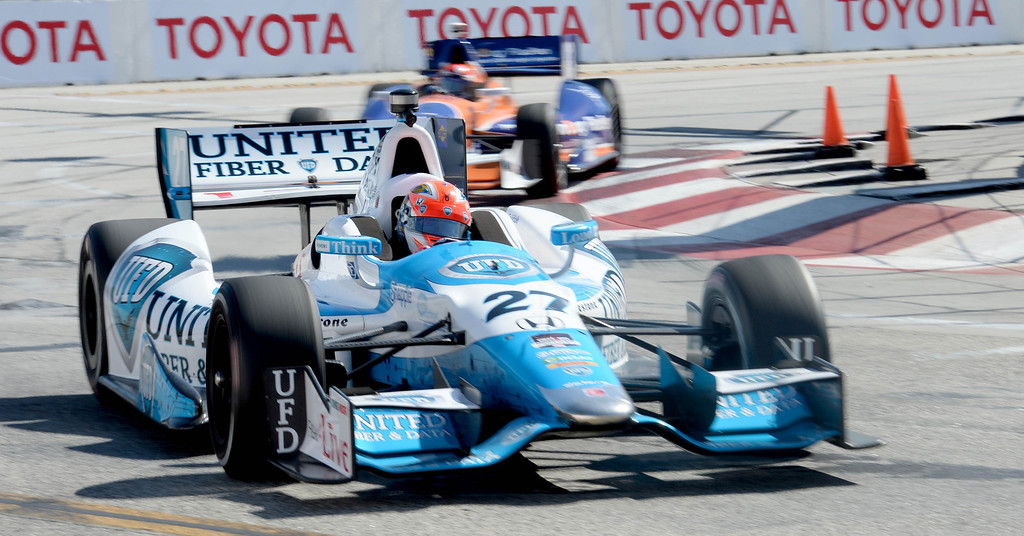 . James Hinchcliffe rounds turn 1 during the IndyCar practice at the 40th Annual Toyota Grand Prix of Long Beach in Long Beach, CA. on Friday April 11, 2014. (Photo by Sean Hiller/ Daily Breeze).