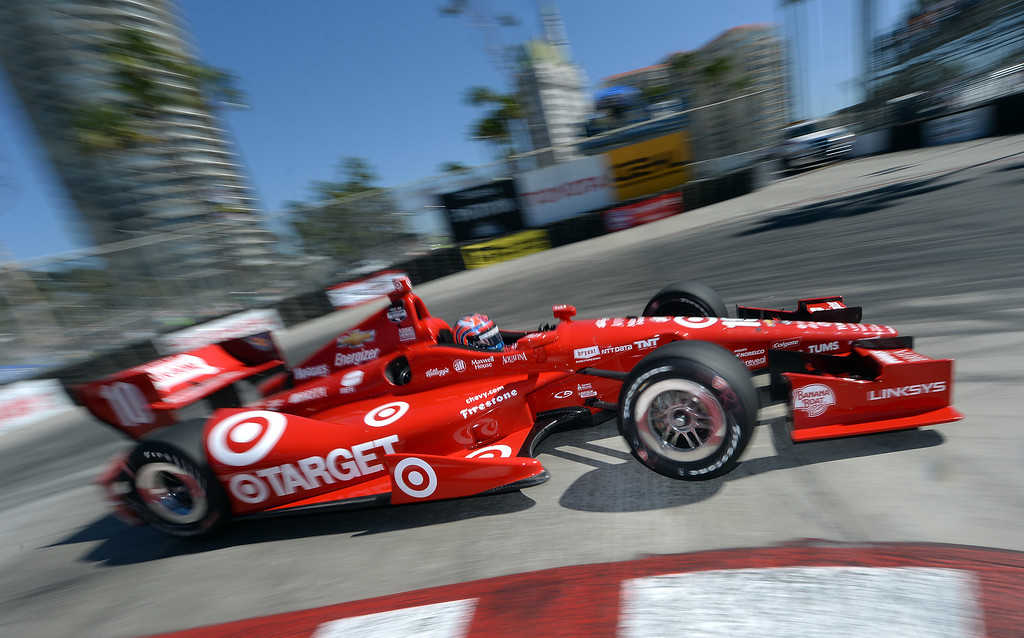 . Indycar driver Tony Kanann drives through the hairpin Friday morning April 11, 2014 in the first practice session at the 40th Toyota Grand Prix of Long Beach.  (Will Lester/Inland Valley Daily Bulletin)