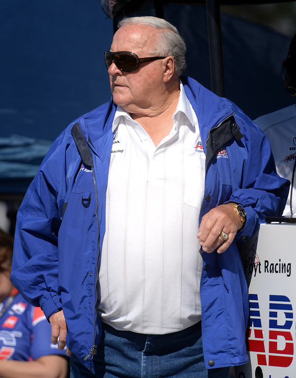 . Indycar legend and car owner A. J. Foyt watches his driver Takuma Sato leave the pits Friday morning April 11, 2014 for the first practice session at the 40th Toyota Grand Prix of Long Beach.  (Will Lester/Inland Valley Daily Bulletin)