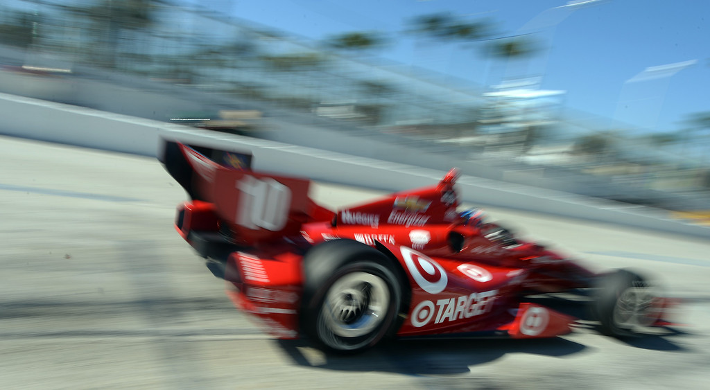 . Indycar driver Tony Kanaan takes to the streets of Long Beach Friday morning April 11, 2014 for the first practice session at the 40th Toyota Grand Prix of Long Beach.  (Will Lester/Inland Valley Daily Bulletin)