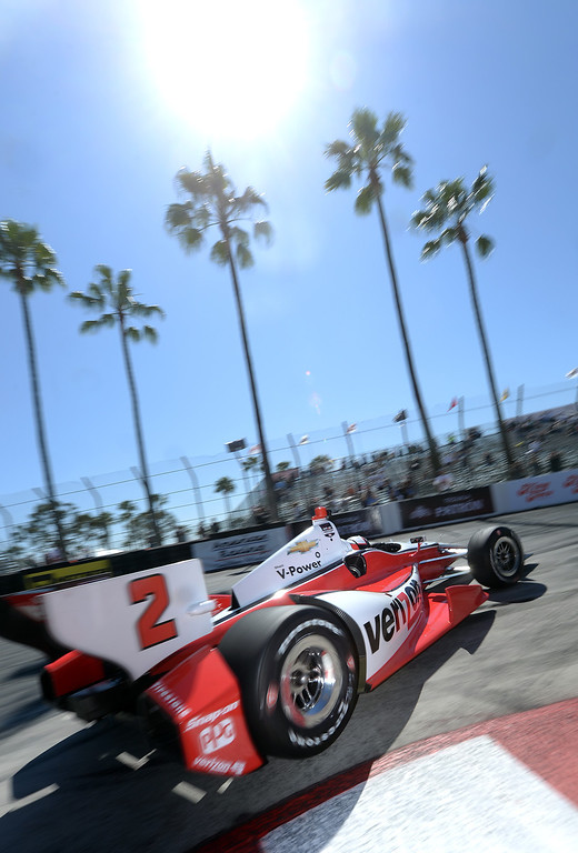 . Indycar driver Juan Pablo Montoya drives through the hairpin Friday morning April 11, 2014 in the first practice session at the 40th Toyota Grand Prix of Long Beach.  (Will Lester/Inland Valley Daily Bulletin)