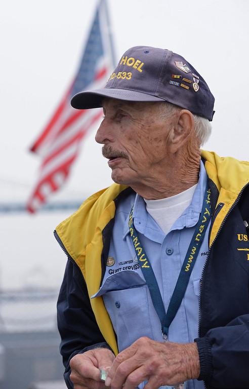 . Bob DeSpain, 87, survivor of USS Hoel which was sunk this date 1944. Memorial aboard the USS Iowa, San Pedro.  (Fri. Oct. 25, 2013 Photo by Brad Graverson/The Daily Breeze)