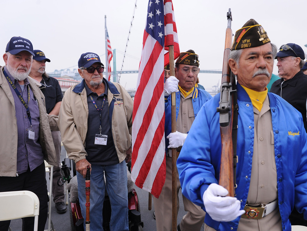 . USS Hoel survivor Glenn Parkin, 92, (left of flag) as the color guard from VFW Post 2967 posts colors.   USS Hoel  was sunk this date 1944. Memorial aboard the USS Iowa, San Pedro.  (Fri. Oct. 25, 2013 Photo by Brad Graverson/The Daily Breeze)