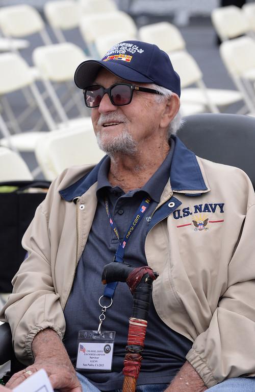 . Glenn Parkin, 92, survivor of USS Hoel which was sunk this date 1944. Memorial aboard the USS Iowa, San Pedro.  (Fri. Oct. 25, 2013 Photo by Brad Graverson/The Daily Breeze)