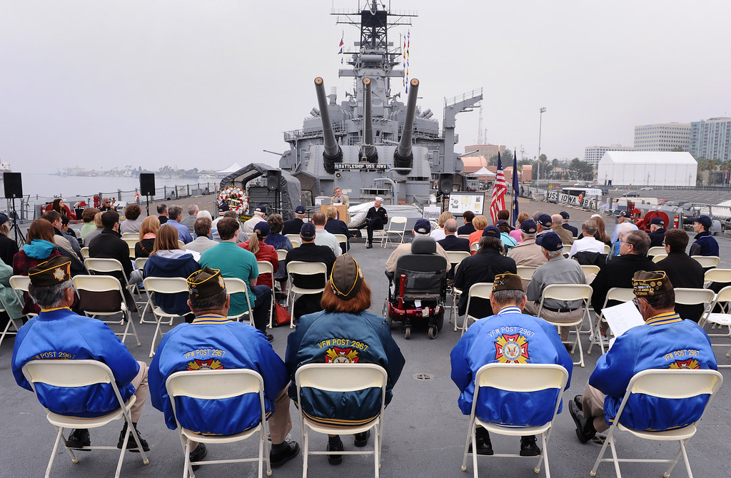. Four WWll survivors of USS Hoel which was sunk this date 1944. Memorial aboard the USS Iowa, San Pedro.  (Fri. Oct. 25, 2013 Photo by Brad Graverson/The Daily Breeze)