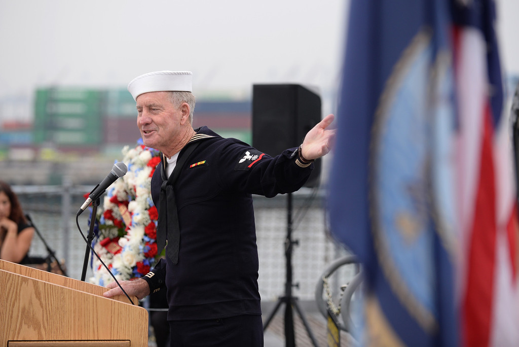 . Chaplin Ghormley gave the invocation aboard the USS Iowa, San Pedro.  (Fri. Oct. 25, 2013 Photo by Brad Graverson/The Daily Breeze)
