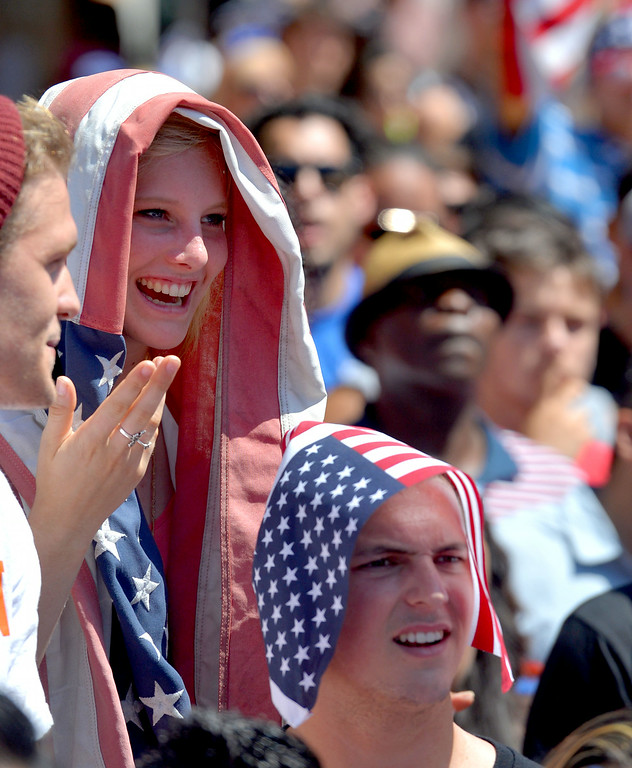 . Fans pack Pine Avenue to watch the United States play Belgium in the World Cup Soccer game in Long Beach CA. on Tuesday July 01, 2014. (Photo by Sean Hiller/ Daily Breeze).