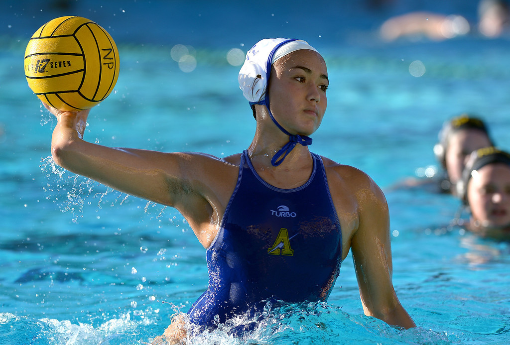 . Agoura\'s Aley Vilches shoots a penalty shot against Newbury Park, Wednesday, January 29, 2014, at Newbury Park. (Photo by Michael Owen Baker/L.A. Daily News)