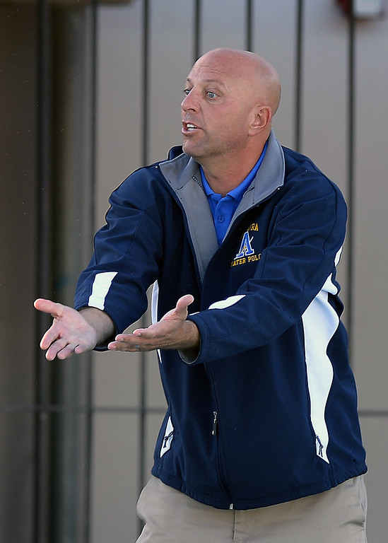 . Agoura head coach Jason Rosenthal questions the referees, Wednesday, January 29, 2014, at Newbury Park. (Photo by Michael Owen Baker/L.A. Daily News)