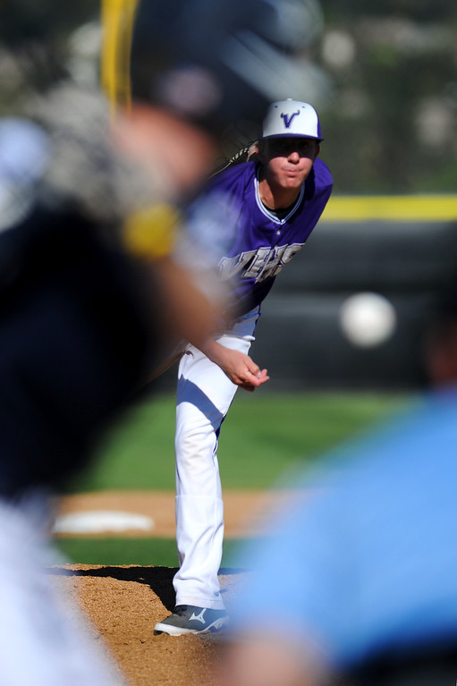 . Valencia\'s Kevin Chandler pitches against West Ranch. (Photo by Michael Owen Baker/L.A. Daily News)