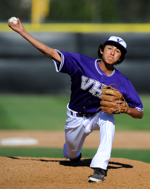 . Valencia\'s Andrew Sohikian pitches in relief against West Ranch. (Photo by Michael Owen Baker/L.A. Daily News)