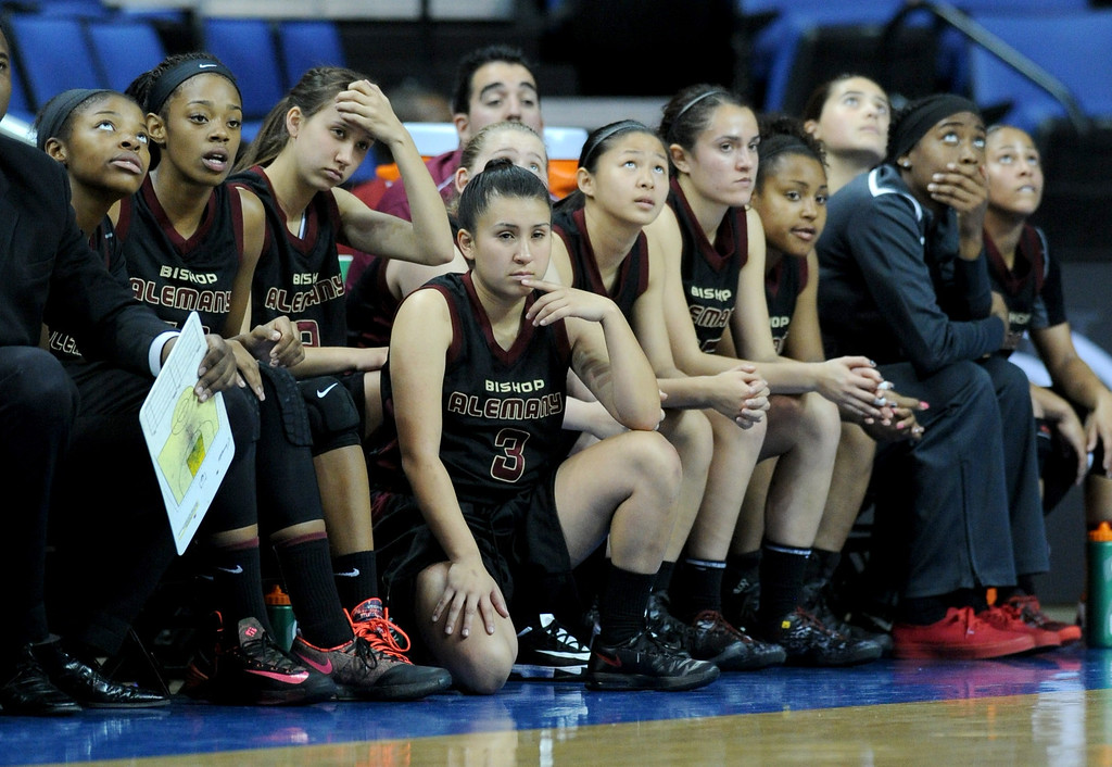 . The Alemany bench looks on during the final seconds of the game. Canyon Springs defeated Alemany 66-51 in the Girls Division I Final game played at Citizens Bank in Ontario, CA. March 22, 2014 (Photo by John McCoy / Los Angeles Daily News)