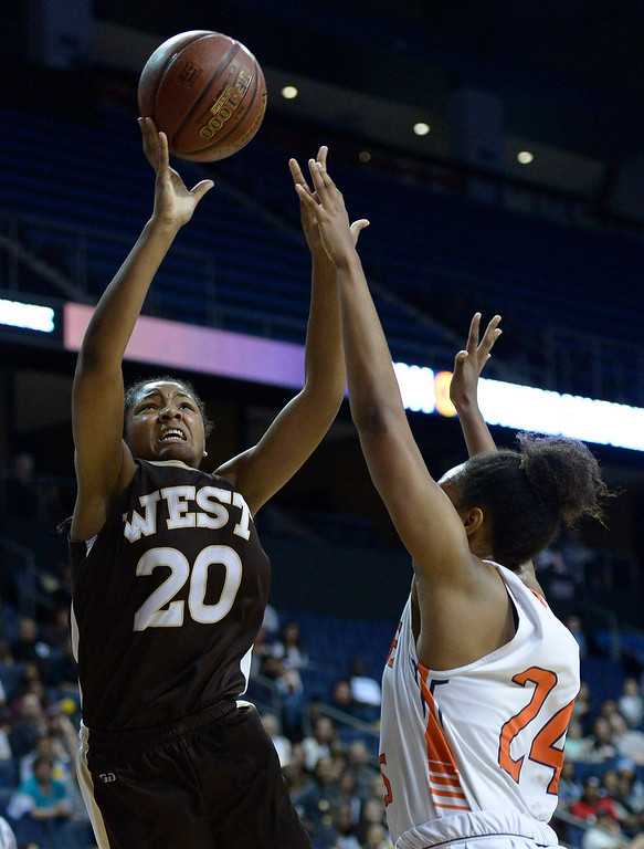 . West#20 Jasmine Jones shoots over Chaminade#24 Devin Stanback. Chaminade defeated West High School 67-50 in the Girls Division II Final game played at Citizens Bank in Ontario, CA. March 22, 2014 (Photo by John McCoy / Los Angeles Daily News)
