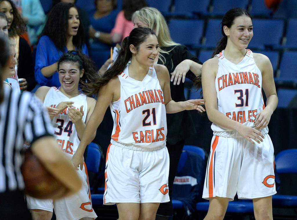 . Chaminade bench celebrates in the final moments of the game. Chaminade defeated West High School 67-50 in the Girls Division II Final game played at Citizens Bank in Ontario, CA. March 22, 2014 (Photo by John McCoy / Los Angeles Daily News)