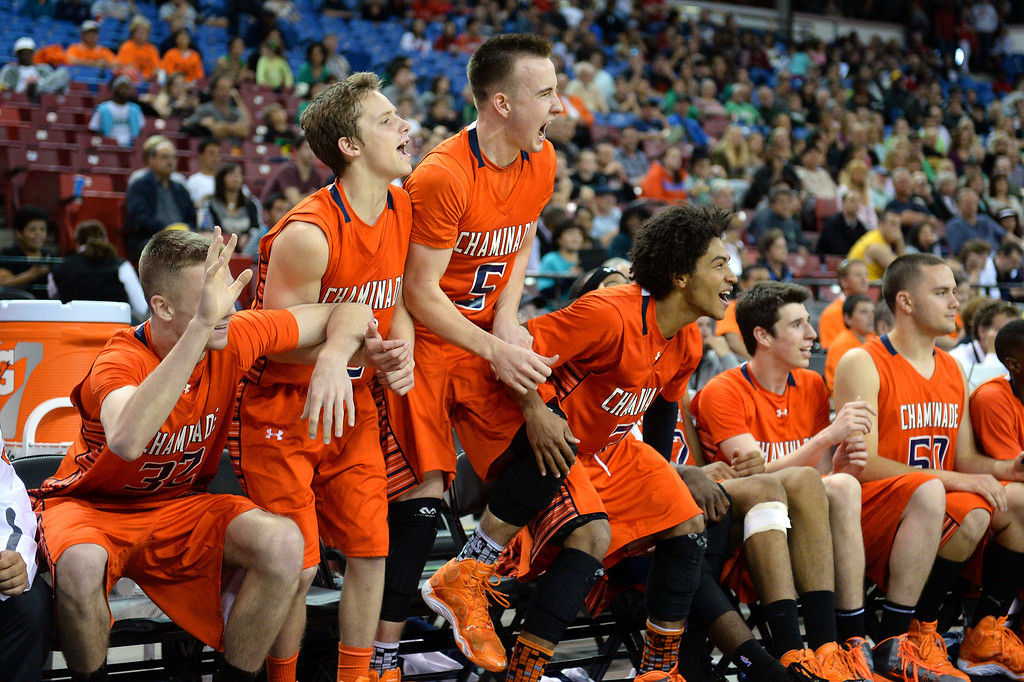 . Chaminade players celebrate in the closing minutes of their win over Sir Francis Drake. (Photo by Michael Owen Baker/L.A. Daily News)