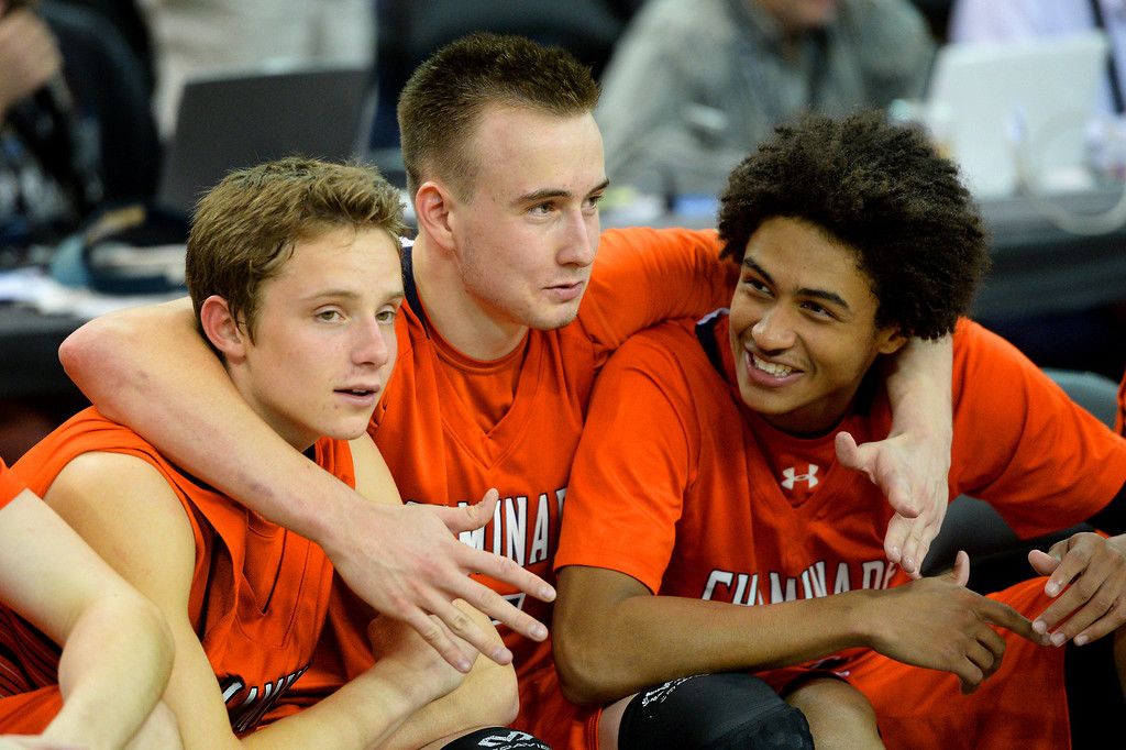 . Chaminade\'s, from left, Daniel Holcomb, Max Tinsley and Justin Eisen celebrate in the closing minutes of their win over Sir Francis Drake. (Photo by Michael Owen Baker/L.A. Daily News)