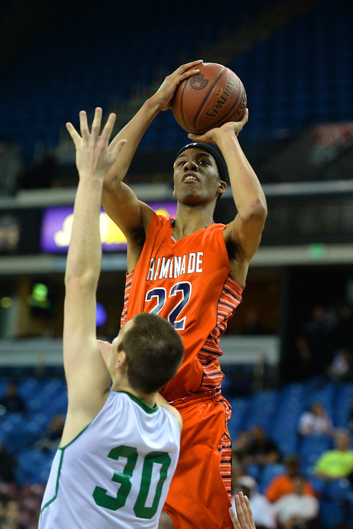. Chaminade\'s Trevor Stanback shoots over Sir Francis Drake\'s Jesse Hunt. (Photo by Michael Owen Baker/L.A. Daily News)