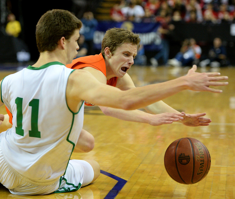 . Chaminade\'s Daniel Holcomb and Sir Francis Drake\'s Jasper Verduin dive for a loose ball. (Photo by Michael Owen Baker/L.A. Daily News)