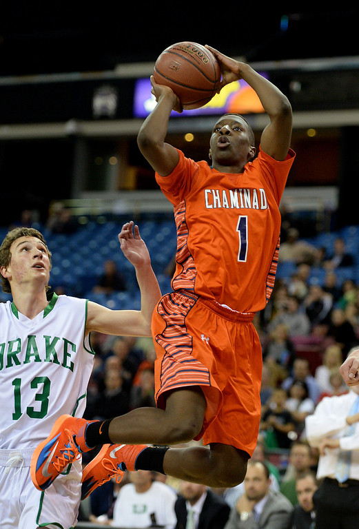. Chaminade\'s Jordan Ogundiran sinks a jumper at the end of the first quarter against Sir Francis Drake. (Photo by Michael Owen Baker/L.A. Daily News)
