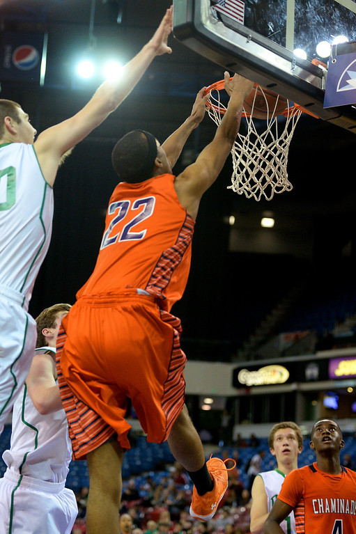 . Chaminade\'s Trevor Stanback dunks against Sir Francis Drake. (Photo by Michael Owen Baker/L.A. Daily News)