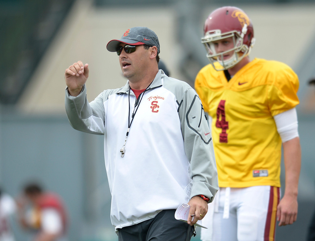 . Head Coach Steve Sarkisian. The coaches at USC are running the Trojans through their paces with spring practices on the school campus. Los Angeles, CA. 4/10/2014(Photo by John McCoy / Los Angeles Daily News)