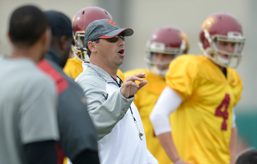 . Coach Steve Sarkisian. The coaches at USC are running the Trojans through their paces with spring practices on the school campus. Los Angeles, CA. 4/10/2014(Photo by John McCoy / Los Angeles Daily News)