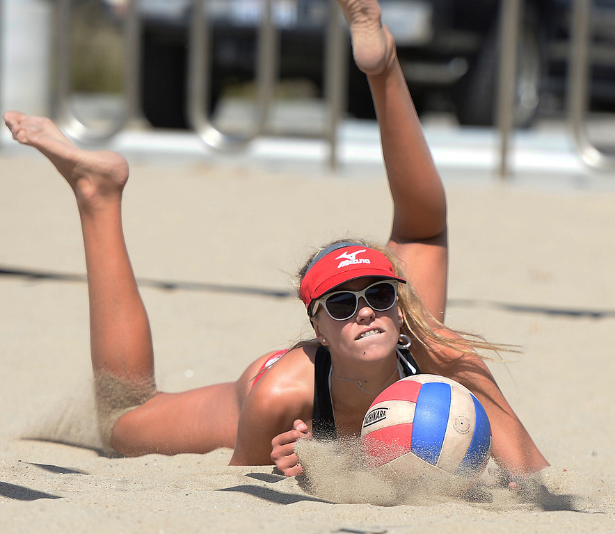 . Abril Bustamante from Redondo can not get to this shot while playing Huntington Beach. Interscholastic Beach Volleyball League postseason tournament. Santa Monica, CA. 5/10/2014(Photo by John McCoy / Los Angeles Daily News)