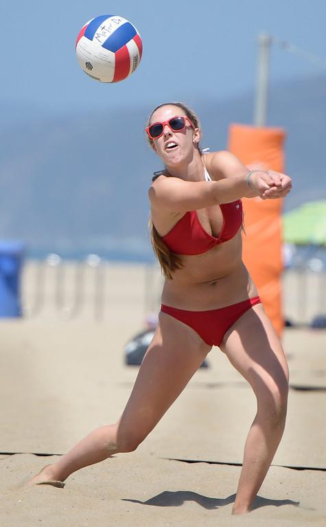. Marissa Mitter from Redondo returns a serve from Huntington Beach during the Interscholastic Beach Volleyball League postseason tournament. Santa Monica, CA. 5/10/2014(Photo by John McCoy / Los Angeles Daily News)