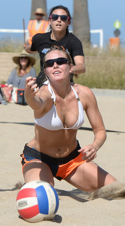 . Westlake Julia Mannisto can not get to the ball in time while her team mate Natalie Anselmo looks on in a game against Mira Costa. Interscholastic Beach Volleyball League postseason tournament. Santa Monica, CA. 5/10/2014(Photo by John McCoy / Los Angeles Daily News)
