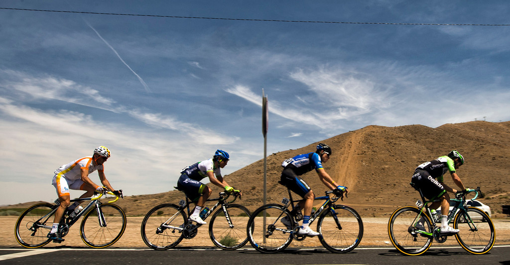 . Cyclists turn on to Angeles Forest Highway in Palmdale, CA during stage 6 of the Amgen Tour of California bicycle race. (Photo by Hans Gutknecht/Los Angeles Daily News)