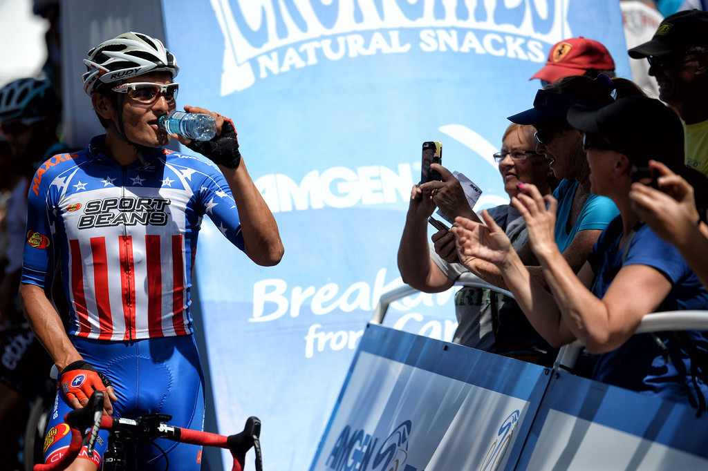 . Fans photograph Freddie Rodriguez before the start of stage 6 of the Amgen Tour of California bicycle race in Newhall,CA Friday, May16, 2014.. (Photo by Hans Gutknecht/Los Angeles Daily News)
