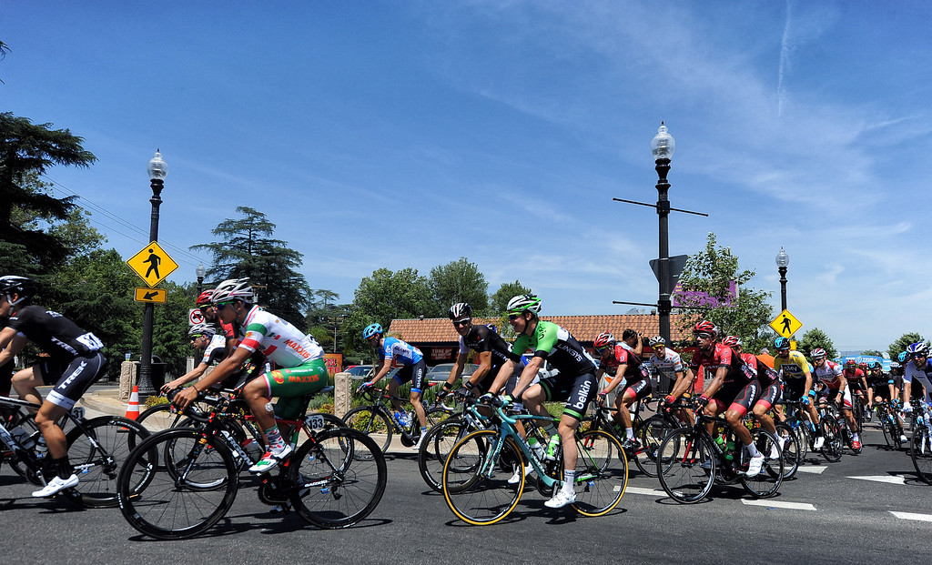 . Cyclists leave the starting point of stage 6 of the Amgen Tour of California bicycle race in Newhall,CA Friday, May16, 2014.. (Photo by Hans Gutknecht/Los Angeles Daily News)