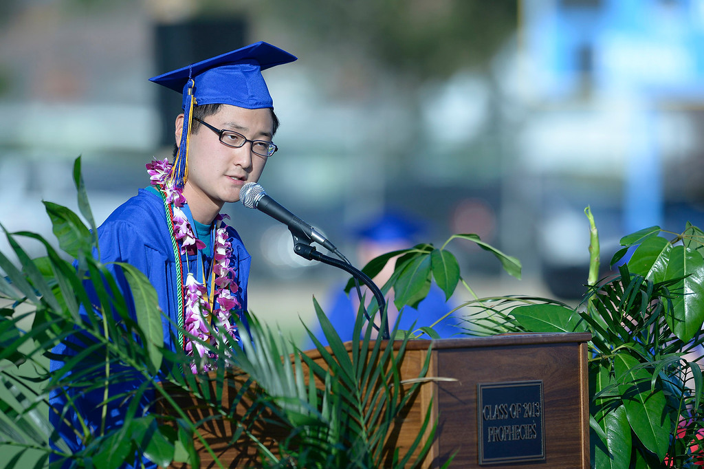 . Gi Min Choi gives the Valedictorian address at John H. Francis Polytechnic High School graduation for the class of 2014. Los Angeles, CA. 6/5/2014(Photo by John McCoy Daily News)