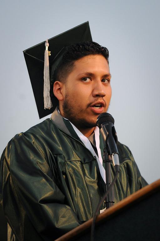 . Senior class president Santiago Larios speaks at the Canoga Park graduation, Friday, June 6, 2014. (Photo by Michael Owen Baker/Los Angeles Daily News)