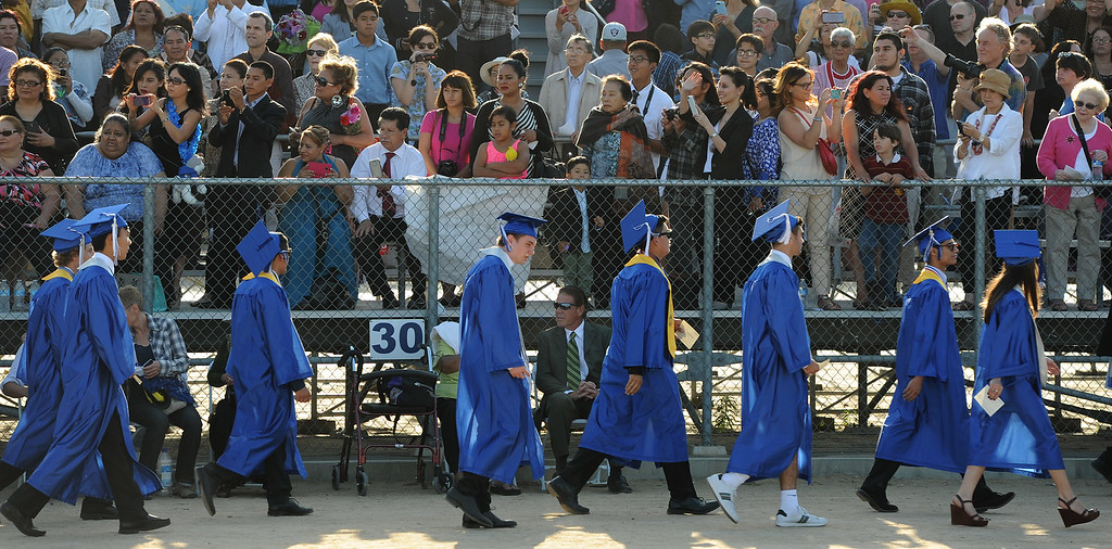 . Graduates walk in during the Processional at North Hollywood High School graduation for the class of 2014. Los Angeles, CA. 6/6/2014(Photo by John McCoy Daily News)