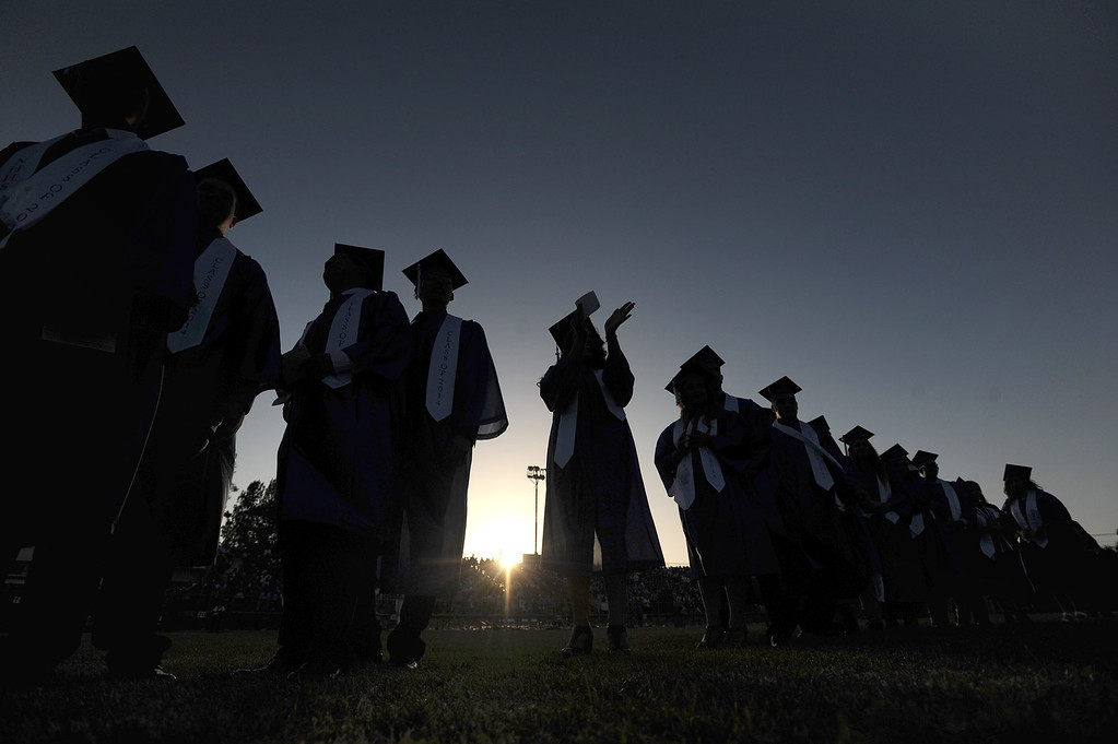 . Grads line up to get their diplomas at North Hollywood High School graduation for the class of 2014. Los Angeles, CA. 6/6/2014(Photo by John McCoy Daily News)